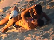 Couple filmed screwing on the beach